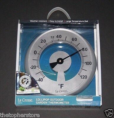 Outdoor Thermometer Silver Stainless, Garden La Crosse - NEW In PKG