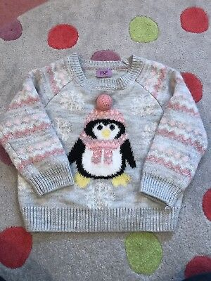 Penguin Christmas Jumper 12–18 Months Pink Grey Girls Xmas
