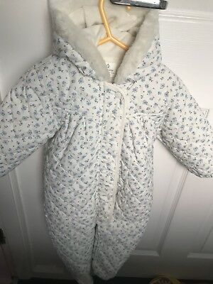 Next Snowsuit 9-12 Months Baby Girl White Fur Lined