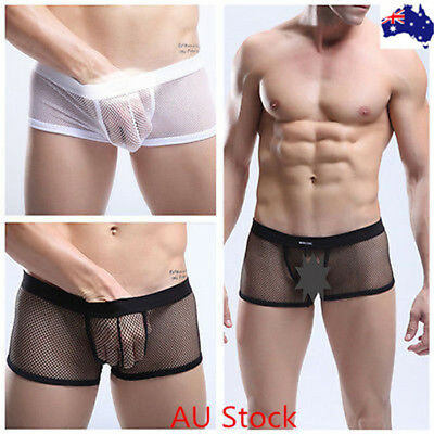 566201fbd5 NEW Sexy Mens Sissy Mesh Bulge Pouch Boxer Trunks Underwear Underpants AU  Seller