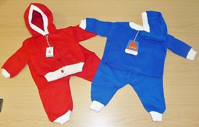 2 x VINTAGE 1970's UNUSED ROYAL BLUE & RED FLEECE BABY PRAM SUITS AGE 6-9 MONTHS