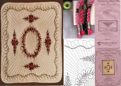 """SPRAYS OF ROSES & WREATH DIMENSIONSAL EMBROIDERY KIT 21½""""x24"""" Martha Offut Quilt"""