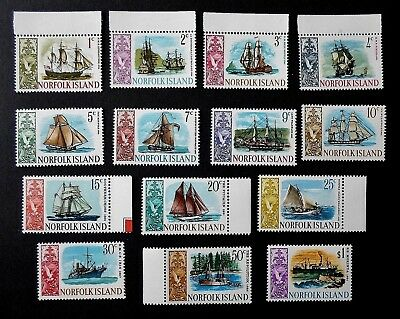 Norfolk Is 1967 QEII Ships Definitive set to $1.00  - Fourteen Values UNM/Mint