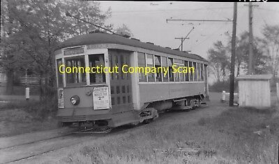 Connecticut Company Original B&w Trolley Negative Car 1803 Griswoldville In 1940
