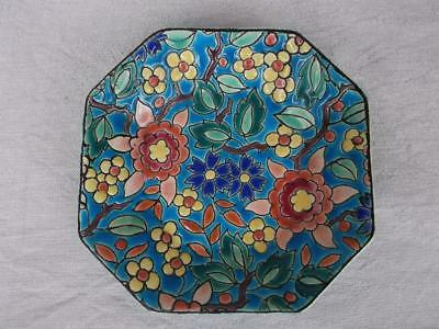477 / BEAUTIFUL 1930's FRENCH LONGWY POTTERY DISH WITH FLORAL DESIGN