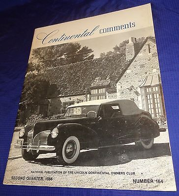 RF2485 Vtg Ford Lincoln Continental Comments Magazine 1986
