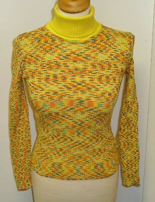 VINTAGE 1970s UNWORN GIRLS YELLOW PATTERNED ROLL NECK RIBBED TOP AGE 11-13 YEARS