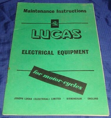 RP1178 Lucas Electrical Equipment Maintenance Instructions For Motorcycles
