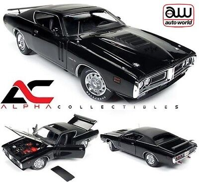 Autoworld Amm1107 1:18 1971 Dodge Charger R/t Black Tx9 Hardtop W/sunroof Mcacn
