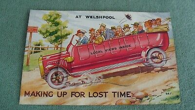 Vintage Charabanc Novelty Making Up For Lost Time At Welshpool Pull Out Postcard