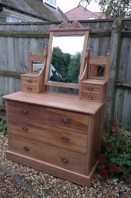 Antique Chest Of Drawers Dressing Table Elm Wood Bevel Glass Mirror Rustic Chic