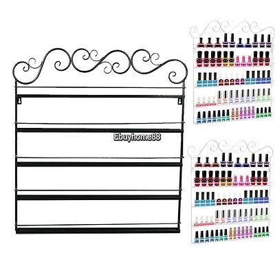 Nail Polish Shelf Wall Mount Metal Display Organizer Rack Stand Holder Storage