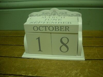 White Wooden Date Month Block Calendar Home Office