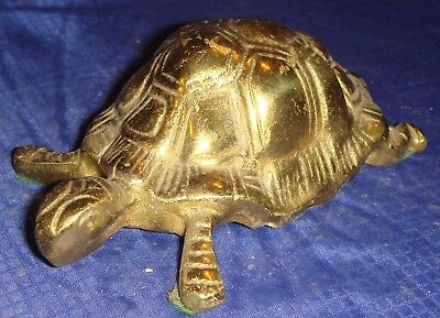 RP1381 Vtg Solid Brass Turtle Paperweight