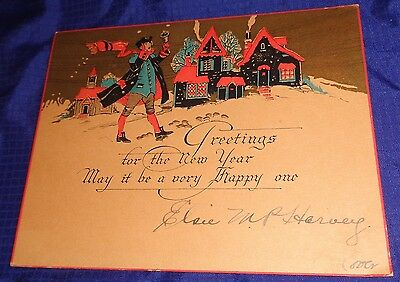 RP1694 Vtg Happy New Year Card Teeswater ON Harvey