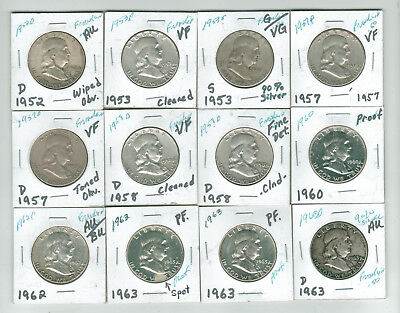 Lot of 12 Franklin Halves - 90% Silver - 1952D to 1963D Includes 3 Proofs
