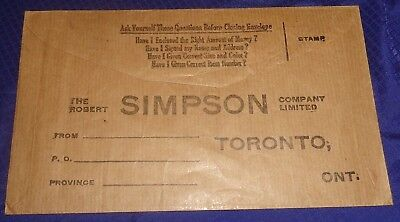 RP2289 Vtg Robert Simpson Co. Toronto ON Order Return Envelope