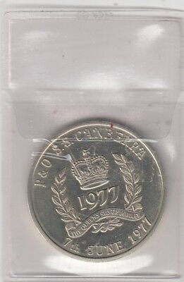 Queen Elizabeth 1977 Silver Jubilee Crown Coin, P & O, S.s. Canberra, (Shipping)