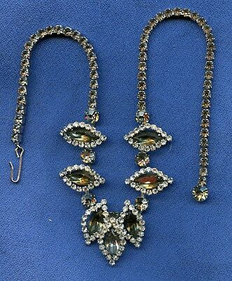 vintage Weiss Charcoal  & Clear Prongset Rhinestone Collar Necklace
