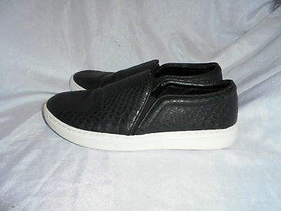 Mng Mango Women Black Leather Slip On Trainers Skater Shoes Size Uk 6 Eu 39  Vgc