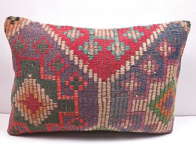 "Vintage Turkish Rug Kilim Lumbar Pillow Cover 20""x14"" Boho Cushion,Throw Pillows"