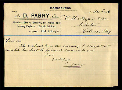 T20 Memorandum D. Parry Plumber Glazier Electric Bell Fitter Old Colwyn 1908