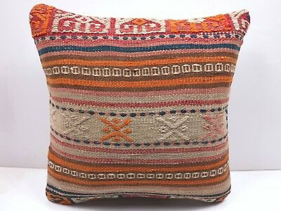 "Vintage Turkish Kilim Rug Pillow Cover 16""x16"" Boho,Aztec,Cushion,Throw Pillow"