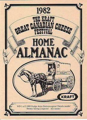RP798 Vtg Kraft Foods Canadian Cheese Festival Home Calendar Almanac 1982
