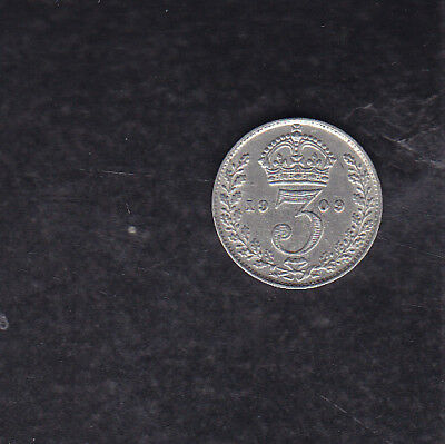 1909 Great Britain Silver 3 Pence