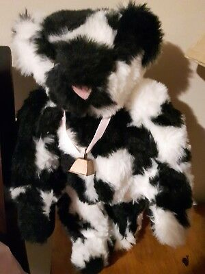 VERMONT TEDDY BEAR CO.  jointed plush teddy bear Cow with Bell