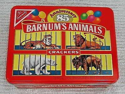 Old 1987 Nabisco 85th Anniversary Barnums Animals Crackers 2x6x8 Red Tin FREE SH