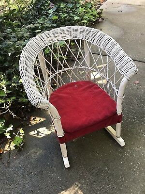 Vintage Childs White Wicker Rocking Chair
