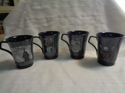 The Nightmare Before Christmas 4 Stack-able Mugs w/ Metal Stand in Box!