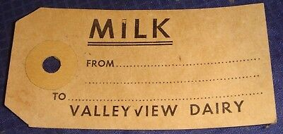 SE235 Vtg Farm Milk Can Tag Valley View Dairy