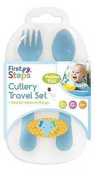 Baby Plastic Knife Fork Spoon Cutlery Travel Set First Steps 6months+ Animals