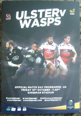 ULSTER v WASPS, OCTOBER 2017, RUGBY PROGRAMME, EX CONDITION. IRELAND.