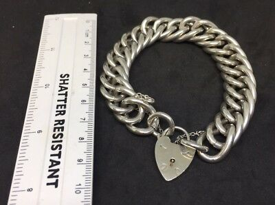 ANTIQUE  LARGE STERLING SILVER CHARM BRACELET HEAVY 100grams 8 Inch