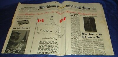 SE328 Vtg Markham ON Economist & Sun Newspaper June 29 1967