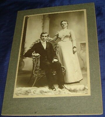 SE348 Vtg Cabinet Card Photo Young Man & Woman Weidner Quakertown PA