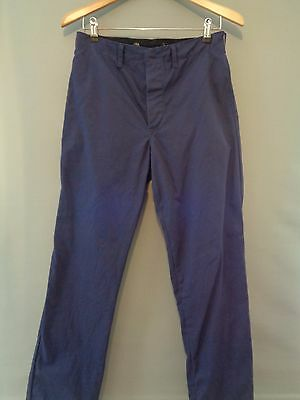 Vtg French NOS blue cotton work trousers worker workwear chore pants