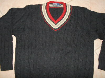 Vtg 90's Mens Ralph Lauren Polo Black Cable Knit v-neck Sweater Wool x Large