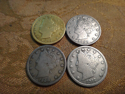 """Lot Of 4 US Liberty """"V"""" Nickels 5c (1883-1912) - Free S&H USA"""