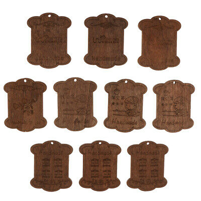 10x Vintage Carving Wooden Embroidery Floss Bobbins Thread Wind Organizer Holder