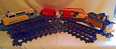 Caterpillar Train Set Locomotive Caboose Tipping Car Boom Crane Toy State Loose
