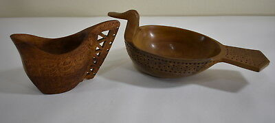 (2) Vintage Made in Yugoslavia Wood Bowls Small Pitcher Creamer Bird Duck Carved