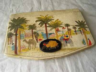 Vintage Egypt Painted Embossed Clutch Hand Bag, Camel Leather? 1950's?