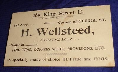 SE522 Vtg H. Wellsteed Grocer Toronto ON Business Card