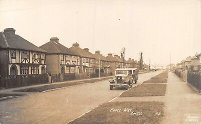 Surrey Ewell Pams Way New Semi-Detached Houses & Parked Old Car Photo Card