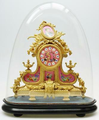 Antique French 8 Day Gilt Metal & Pink Sevres Porcelain Mantel Clock Under Dome