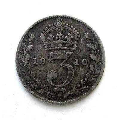 Great Britain Uk Coins, Threepence 1910, Edward Vii, Silver 0.925
